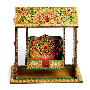 Pooja Jhula Crafted From Wood With Clay Work Home Decor