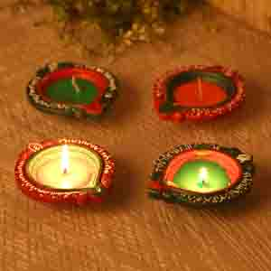 Handcrafted Wax Filled Big Terracotta Diyas - Set Of 4